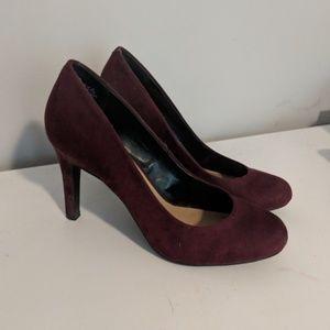 Maroon suede heels